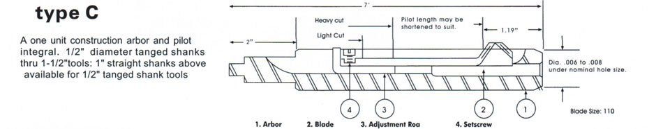 RBT ultra deburring tool type C drawing